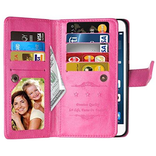 Flip Samsung J1Mini Fall Folio Case Solid Farbe Premium Synthetik-Leder-Kasten-Standplatz-Mappen-Kasten-Kasten mit 9 Karten-Bargeld-Slots für Samsung Galaxy J1Mini ( Color : White , Size : SamsungJ1Mi Pink