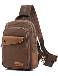 AUGUR Monospalla Zaino 3 in 1 Multiuso Crossbody Zainetto Chest Bag Perfetto per Escursioni,Alpinismo,Scuola,Viaggi in Campeggio e Sport(caffè)