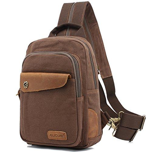 AUGUR Sacs bandoulière polyvalent sac à dos Daypack parfait pour la randonnée, l'alpinisme, les voyages de camping et de sport (Café)