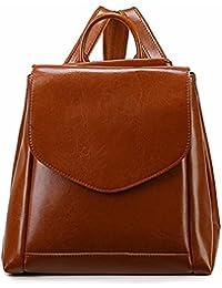319fc2390 WanJiaMen'Shop Hembra de Cuero Bolso Simple Moda Ocio Tapa de Cuero Tipo  Doble Bolsa