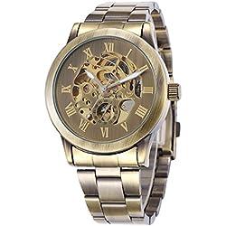Alienwork Retro mechanische Automatik Armbanduhr Skelett Automatikuhr Uhr vintage bronze braun Metall W9269-03