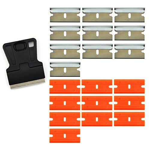 """Preisvergleich Produktbild FOSHIO 1.5 """"Mini Rasierklinge Schaber mit 10PCS Carbon Stahl Rasierklingen und 10PCS Sicherheit Double Edge Kunststoff Rasierklingen für das Entfernen von Old Vinyl und Fenster Glas Cleanning."""
