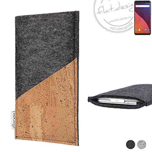 flat.design Handy Hülle Evora für Wiko View 32 GB handgefertigte Handytasche Kork Filz Tasche Case fair dunkelgrau