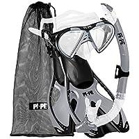 PI-PE Schnorchelset Taucherbrille mit Schnorchel und Flossen - Schnorchel Set mit Praktischem Netzbeutel - Taucherbrille mit Anti-Fog aus gehärtetem Glas - für Erwachsene und Kinder