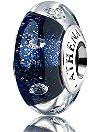 Athenaie Charm en verre de Murano véritable et argent 925 Bleu foncé/sable clair Compatible avec les bracelets de type européen.