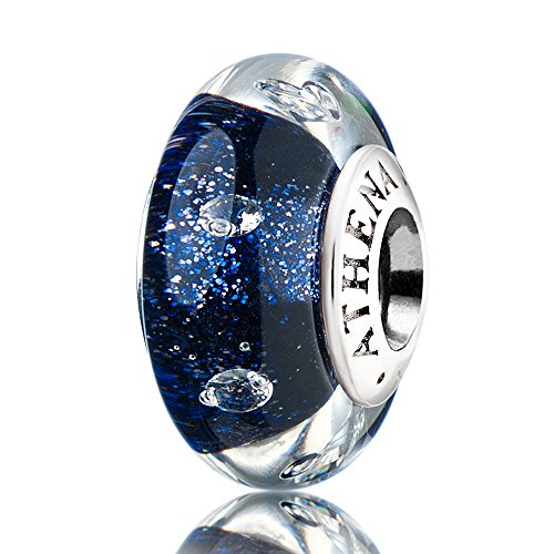 (ATHENAIE echtem Muranoglas 925Silber Core Blink dunkelblau Sand klar CZ Charm Bead passend für europäische Armbänder)