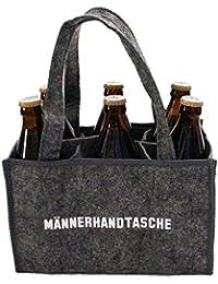 Heimatkuss Original Männerhandtasche, Flaschenträger, hochwertige Filztasche mit weißer Aufschrift, ideales Geschenk für den Mann