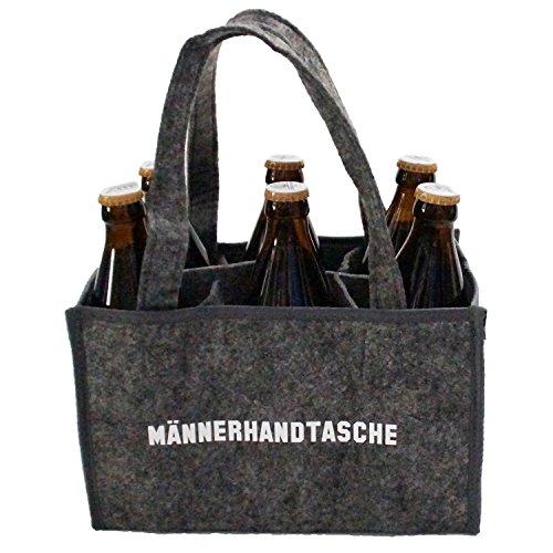 Heimatkuss Original Männerhandtasche, Flaschenträger, hochwertige Filztasche mit weißer Aufschrift, ideales Geschenk für den Mann - Leere Bier Flaschen