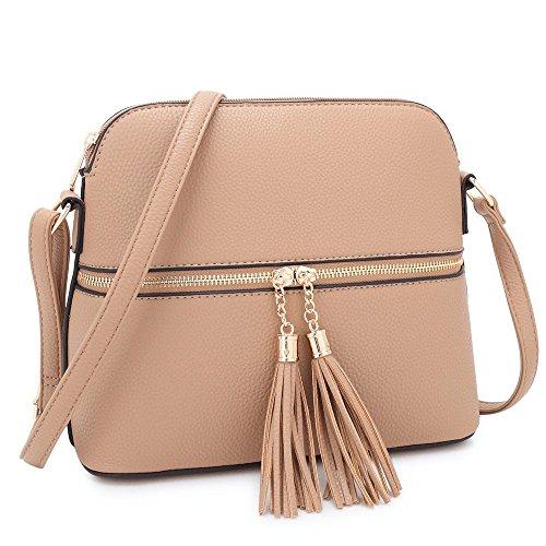 Maya Karis Purse Damen Umhängetasche, leicht, mit Quasten, für Reisen, Umhängetasche, Messengertasche, mittelgroß, mit mehreren Reißverschlüssen