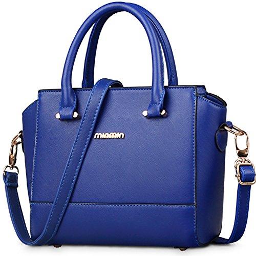 fanhappygo Fashion Retro Leder Damen Freizeit Aktentasche Schulterbeutel Umhängetaschen Abendtaschen blau
