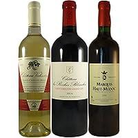 LE WINE CLUB Boîte de 3 Grands Vins de Bordeaux Saint Emilion Grand Cru Château Roches Blanches 2013/Haut Medoc du Marquis 2015/Sainte Croix du Mont Château Valentin 2015 75 cl