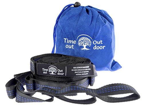 Timeout Outdoor Hängematten-Befestigung 2-er Set I Aufhängung Hänge-Sessel I Garten, Balkon, Indoor I 20 Schlaufen I je 3 Meter (Auto Sitz Stopper)