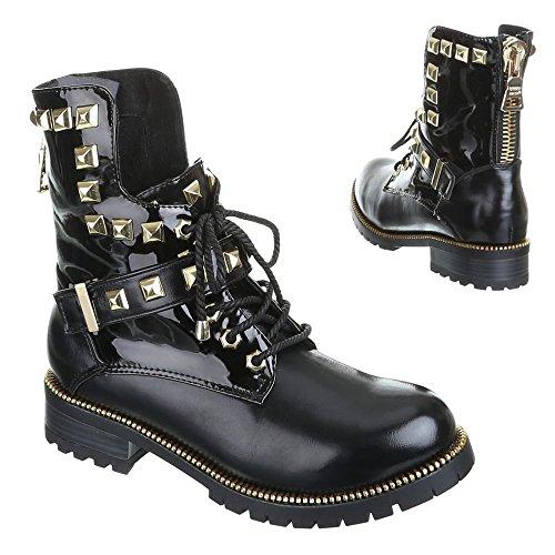 Damen Schuhe, ROBERTA, BOOTS Schwarz Gold ROBERTA