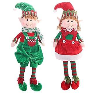 Peluche Elfo Navidad Juguetes de peluche – Verde y rojo – Elfos de niño y niña para la decoración del hogar del Festival de Navidad, gran regalo de Navidad para niños y adultos, 18.8″x 5.9″
