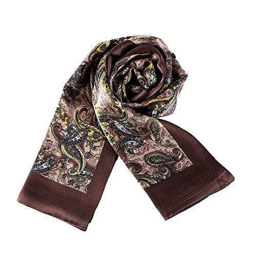 UK_Stone Klassisch 100% Seide Paisley Blumen Halstuch Herren Schal Weihnachtsgeschenk (Paisley # 2 Braun)