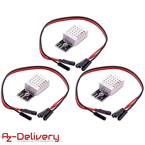 AZDelivery 3 x DHT22 AM2302 Temperatursensor und Luftfeuchtigkeitssensor mit Platine und Kabel für Arduino mit gratis eBook!