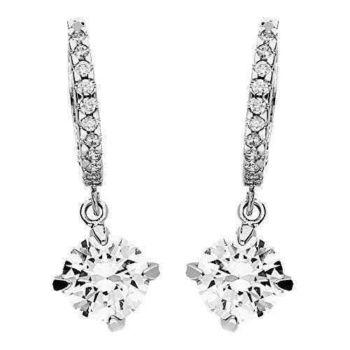 Träne Swarovski-kristall-perlen (MYA art Damen Ohrringe Creolen Hängend 925 Silber mit Swarovski Elements Kristall in Diamant Form Weiß)