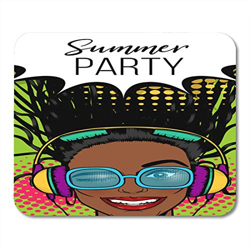 Deglogse Gaming-Mauspad-Matte, Black Woman in Sunglasses Earphones Listen Music Wow Face Mouse Pad, Desktop Computers mats