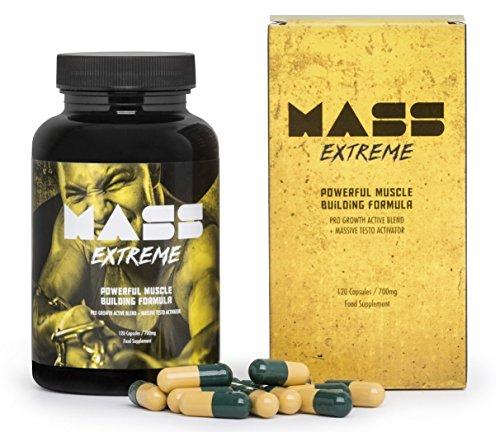 ✅MASS EXTREME Premium - Das Supplement für den Aufbau von Muskelmasse, spektakuläre Entwicklung der Körperform, ideal für jeden Mann! Basispaket 120 Kapseln / 700 mg