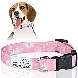 PETBABA Hundehalsbänder, Gänseblümchen Verstellbar Weich Hunde Halsbänder - M in Rosa