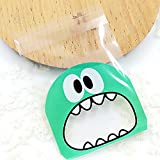 Ocamo 100pcs OPP Adorable Lovely Small Monster Sharp Teeth Pattern Baking Christmas Gift Packaging Bags Wedding Cookie Candy Plastic Bag 10 * 10 + 3 Light Blue