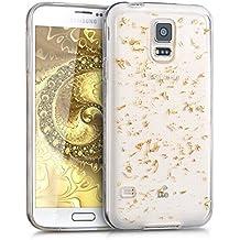 kwmobile Funda para Samsung Galaxy S5 / S5 Neo / S5 LTE+ / S5 Duos - Case para móvil en TPU silicona - Cover trasero Diseño Lentejuelas en oro transparente