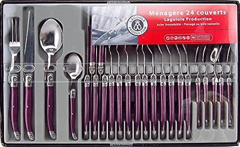 Menagere Couleur 24 Pieces - Laguiole Production 444670 Ménagère 24 Pièces Acier