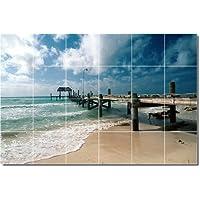 Beach photo Backsplash tile Mural 30. 43,2x 64,8cm utilizzando (24) 4.25x 4.25piastrelle in ceramica.