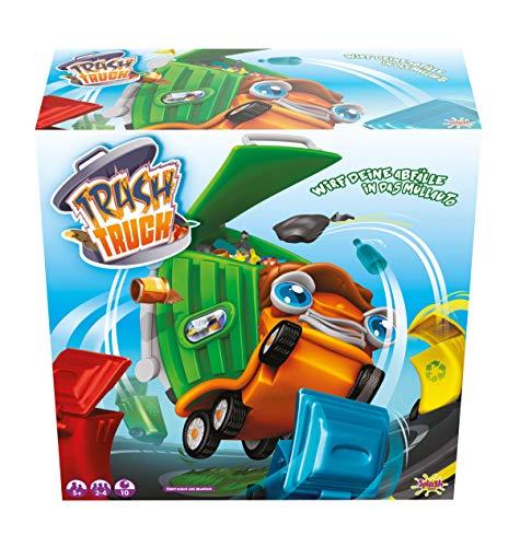 Splash Toys 30192 - Kinderspiel TRASH TRUCK, Geschicklichkeitsspiel mit Musik und Geräuschen, Müllauto auch als Spielzeugauto nutzbar