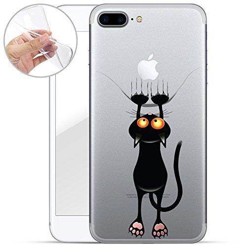 finoo | iPhone 8 Weiche flexible Silikon-Handy-Hülle | Transparente TPU Cover Schale mit Motiv | Tasche Case Etui mit Ultra Slim Rundum-schutz | Tattoo girl blond Katze lang