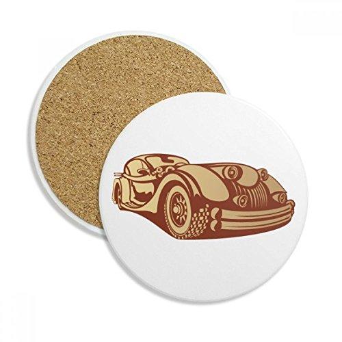 DIYthinker Braunrot Classic Cars Silhouette Ceramic Coaster-Schalen-Becher-Halter Absorbent Stein für Getränke 2ST Geschenk Mehrfarbig - Car Coaster