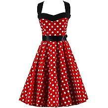 VKStar® Retro 50er Neckholder Rockabilly Kleid Damen Rückenfrei  Cocktailkleid Audrey Hepburn Swing Kleid