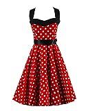 VKStar® Retro 50er Neckholder Rockabilly Kleid Damen Rückenfrei Cocktailkleid Audrey Hepburn Swing Kleid Rot Weiß Punkte A XXL