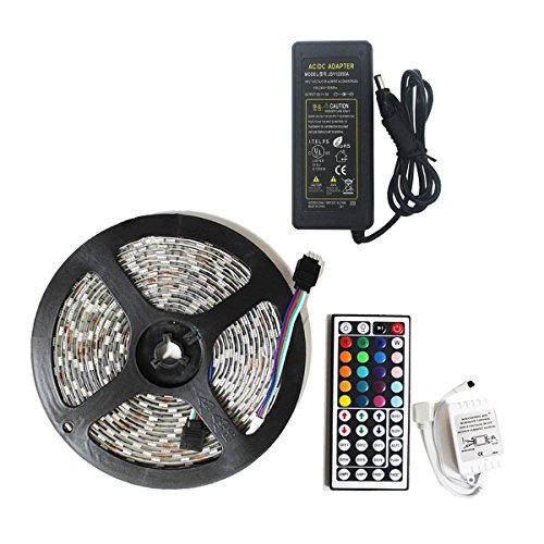 Teqin  5M 5050 RGB 12V LED STRIP SET Color Changing Waterproof Flexible LED Strips with 44 key IR Remote System   Plug Adapter Power Supply for Home Lighting and Kitchen Decoration