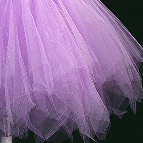 Feoya Donna Retro Tulle Gonna Mini Party Tutu Petticoat Principessa Balletto Sottogonna multistrato Danza Gonne di Bubble per il Partito di Prom Viola