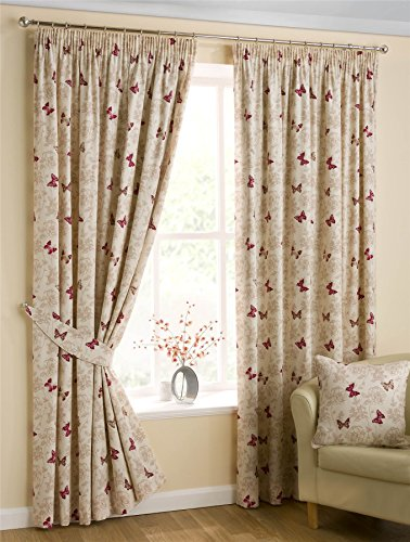 Homescapes Luxury Red Cream Cotton Pencil Pleat Curtains Pair 117cm (46″) Wide x 228cm (90″) Drop Small Butterfly Print