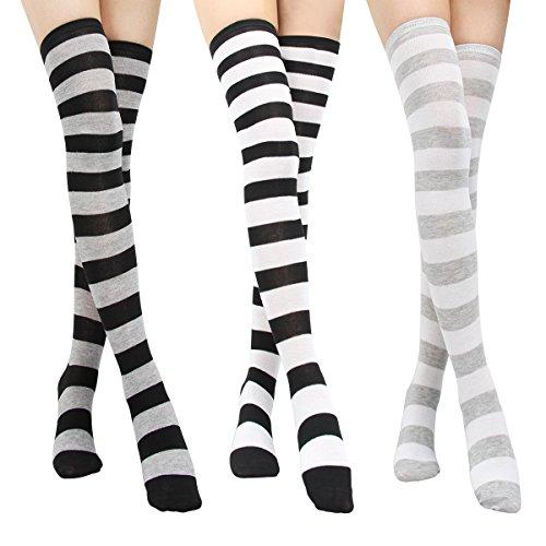 nmuster Socken - College Mädchen Overknee Strümpfe über Kniestrumpf, Frauen über Knie-Lange Baumwollstrümpfe, Damen cosplay Kostüm Wärmer Bein-Strumpf ()