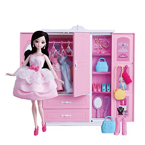 y Garderobe Dress Up Doll Girl Simulation Play House Closet Toy Set Play Game Birthday Gift ()