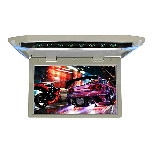 Flip Down Monitor para el coche 1080P HD TFT LCD Monitor de montaje en techo de coche Ultra fino Reproductor de video aéreo HDMI SD MP3 MP4 LED (Gris, 10.1 pulgadas)