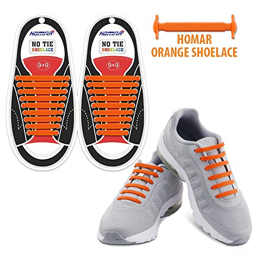 Homar no tie lacci per scarpe per bambini e adulti - impermeabile in silicone elastico piatto laces athletic scarpa da corsa con multicolore per scarpe sneakerboots bordo e scarpe casual (adult size orange)