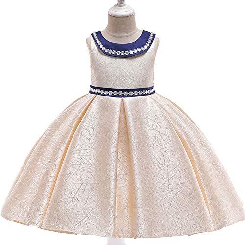 YARUMD Mädchen Kleid Tüll Prinzessin Ärmellos Tanzbekleidung Blumen Lang Rock mit Schmetterling Tütü für Kostüm Cosplay Party Brautkleider Prinzessin Kleid 4-15Jahre,Champagne,130