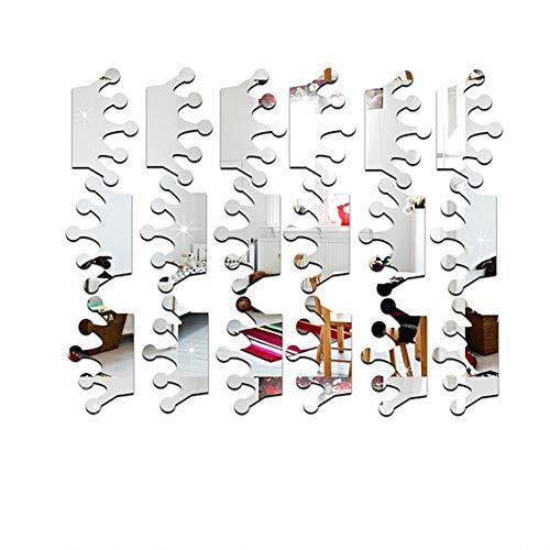 paletur88 Spiegel Krone Geformt Entfernbarer Wand Aufkleber Sticker Heim Mädchen Zimmerdekoration Kunst DIY (Silber) - Silbern, Free Size -