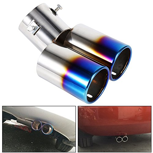 Auto Auspuffblende Doppelendrohr Schalldämpfer Edelstahl für Rohrdurchmesser 38mm bis 53mm