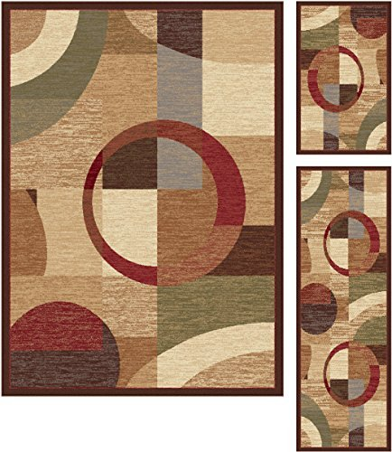 Universal Rugs 105110 Multi 3 Pc. Set 5-Feet by 7-Feet, 20-Inch by 60-Inch and 20-Inch by 32-Inch Area Rug, 3-Piece by Universal Rugs