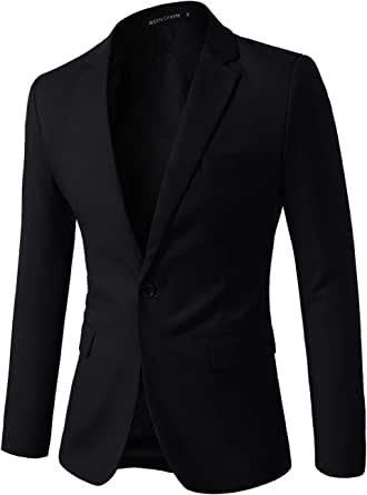 WEEN CHARM Men Casual Blazer Jacket Slim Fit One Button Solid Suit Separate Jacket