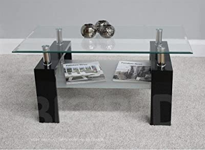 New Modern Rectangle Coffee Table - Clear Glass Top with Chrome & Black Finish