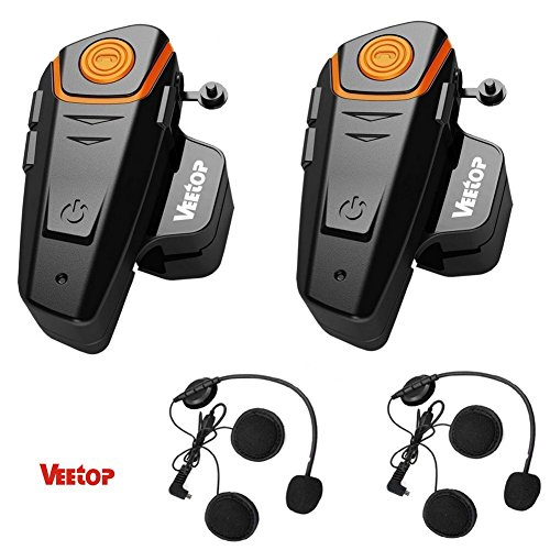 Gegensprechanlage von Veetop, Bluetooth Freisprechanlage, Intercom mit 1000m Reichweite, Verbindung mit Handy, Navi ideal für Motorrad, Motorschlitten, Ski- und Radfahren (2er Set/EU-Ladegerät) (Bluetooth-telefon-gegensprechanlage)