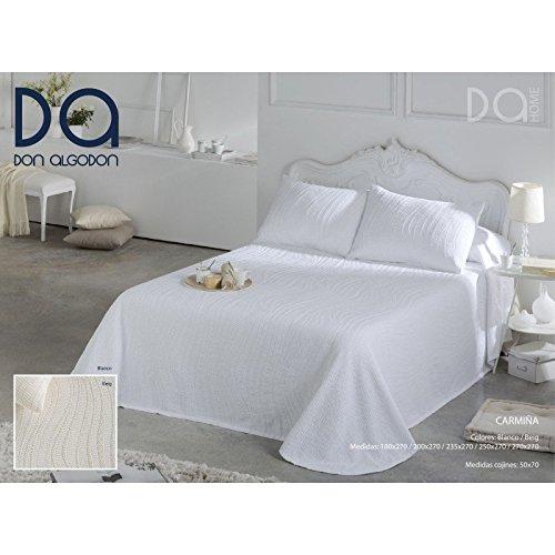 Don Algodón.- Copriletto Carmina Bianco per letto matrimoniale (270x270 cm)