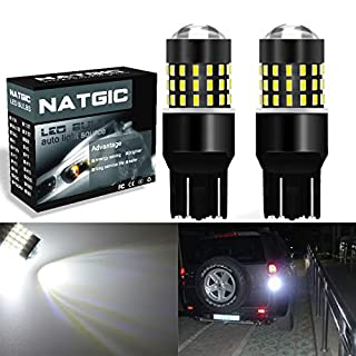 NGCAT 2PCS 7443 7444NA 7440 7440NA Backup Reverse Lights LED Bulbs Extremely Bright 3014SMD 54-EX Chipsets with Lens Projector Brake Backup Reverse Lights,Xenon White 12-24V