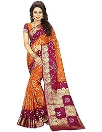 Wedding Villa Women's Art Silk Bandhani Saree With Blouse Piece (Boxpallu6_Mustard_Pink_Colour)